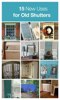 15 new uses for old shutters! Cute shabby chic look! Must find shutters. Repurposed Items, Repurposed Furniture, Diy Furniture, Home Interior Design, Home Design, Interior Decorating, Modern Interior, Design Ideas, Old Shutters