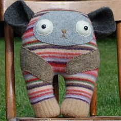 Striped Foundling Stuffed Animal recycled fabric, repurposed sweater parts and buttons gray grey camel brown