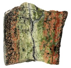 Epidote vein in a granite. There is a crack in the middle which allowed the hydrothermal fluids to flow and metamorphose the rock. The width of the specimen is 11 cm. Arendal, Norway.
