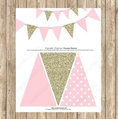 DIY Pendant Banner Birthday girl coral gold by CupcakeExpress