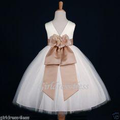 4a604fb1ef1 IVORY CHAMPAGNE WEDDING FLOWER GIRL DRESS 12M-18M 2 2T 3 4