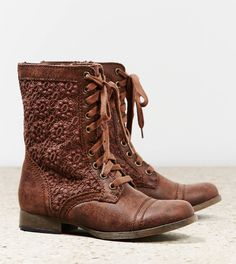 """AEO Crocheted Lace Front Boots. 58.2% Faux Leather, 38.5% Cotton, 2% Plastic, 1.3% Metal • Smooth faux leather • Crocheted cotton side panels • Lace front silhouette • Reinforced heel & toe • 1"""" stacked heel • 8"""" shaft height Imported, 69.95"""