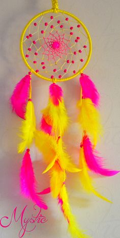 Pink and yellow dream catcher