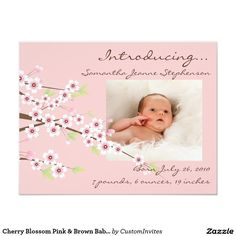 Cherry Blossom Pink & Brown Baby Girl Photo Birth 4.25x5.5 Paper Invitation Card