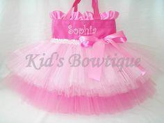 Personalized Dance Bag with Double Tutu Ruffles por kidsbowtique
