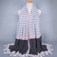 Stylish Tassels Embellished Gingham and Wavy Stripe Pattern Voile Scarf via LAU'S ACCESSORIES. Click on the image to see more!