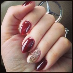"""Oxblood red and """"bling fing"""" gold glitter accent nail... Perfect almond nails for fall!"""