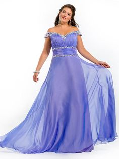 A-line Off-the-shoulder Sleeveless Chiffon Plus Size Prom Dresses/Evening Gowns With Rhinestone #FK857