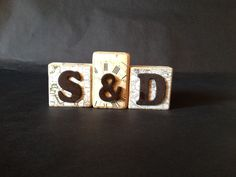 Personalized Name Initials wooden blocks (used travel scrapbook paper because they like to travel)