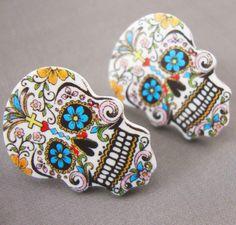 Sugar Skull Day of The Dead Tattoo Stud Earrings Kitsch Rockabilly Psychobilly | eBay