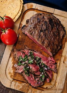 Brazilian Grilled Flank Steak by mymansbelly: Dinner made easy. Fire up the grill! This tangy and spicy Brazilian flank steak marinade will have your senses singing. Grilled flank steak means dinner is quick and tasty. Easy Steak Recipes, Grilling Recipes, Meat Recipes, Dinner Recipes, Cooking Recipes, Healthy Recipes, Water Recipes, Food52 Recipes, Gastronomia
