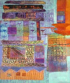This piece has many embellishments added to it:  beads, digital fabric, dyed   facial wipes, sewn cord, and machine embroidery.  The colors are vibrant and   exciting and many different painting techniques were used to create the   finished design. Sherrill Kahn