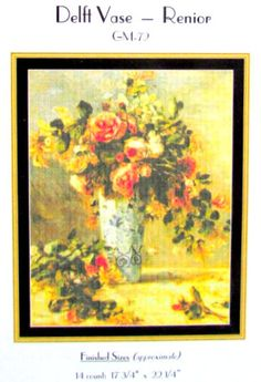 SALE//*Cross Stitch Pattern// by Mystic Stitch Inc./Delft Vase by Renoir//The Great Masters Collection//.Designe/Mystic Stitch.//On SPECIAL!