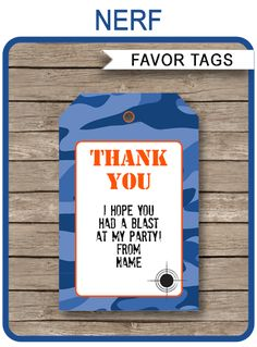 INSTANT DOWNLOAD Blue Camo Nerf Birthday Party Favor Tags. Personalize the editable template at home and attach to your party favors. Download Now!
