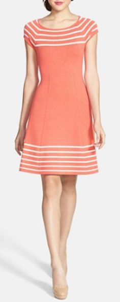 Stripe knit flared dress http://rstyle.me/n/kxbrznyg6