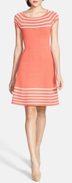 Stripe knit flared dress http://rstyle.me/n/kxbrznyg6