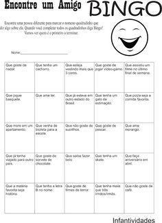 Infantividades: Dinâmica para o primeiro dia de aula: Bingo dos Am...