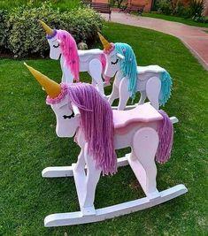 Ride-on unicorn rocking toys Unicorn Rooms, Unicorn Bedroom, Unicorn Birthday Parties, Unicorn Party, Unicorn Rocking Horse, Rocking Horses, Wooden Horse, Unicorn Crafts, Wood Toys