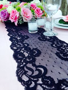 Black lace table decor with pink roses Wedding Set Up, Wedding Wishes, Diy Wedding, Wedding Flowers, Dream Wedding, Wedding Black, Wedding Ideas, Wedding Inspiration, Lace Runner