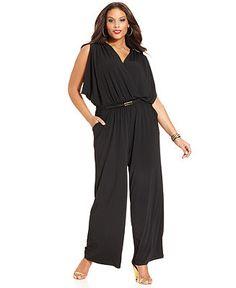 Spense Plus Size Sleeveless Draped Belted Jumpsuit - Plus Size Pants & Shorts - Plus Sizes - Macy's