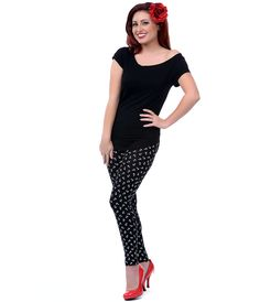 Black White Anchor Print Leggings (37010-SPLE1) van Sourpuss - Sometimes you need an anchor that doesn\'t weigh you down,...Price - $40.00-n5BATg0x