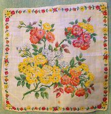 Vintage Hand Painted Primrose Floral Border Sheer Linen Handkerchief