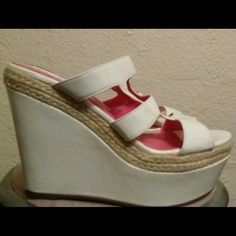 MISS ME White Wedge Heels With Hemp Detail size 9 super high wedge heels lightly worn with tiny minor spot on side of one shoe and tiny dent from storage overall still in great condition and ready for wear Miss Me Shoes Heels