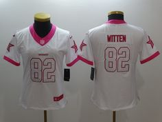 dc24e82e7 ... Womens 2016 Dallas Cowboys 82 Jason Witten Nike White Pink Rush Fashion  Limited Jersey ...