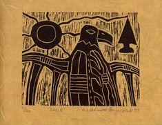 Woodland Native Artist Ahmoo Angeconeb original linocut   Etsy Lakehead University, Bachelor Of Fine Arts, North Africa, First Nations, Epson, Southeast Asia, Printmaking, Nativity, Woodland