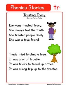 Using this Trusting Tracy TR Phonics Reading Comprehension Worksheet, students build their reading comprehension and phonics skills while reading words featuring TR. First Grade Reading Comprehension, Phonics Reading, Reading Comprehension Worksheets, Teaching Phonics, Phonics Worksheets, Phonics Activities, Teaching Reading, Picture Comprehension, Comprehension Strategies