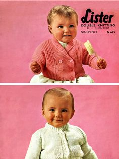 Items similar to PDF Vintage Baby Knitting Pattern EASY Cardigan Pink Lister 695 Lavenda Double Breasted 'Cutesome' Two-Some Retro Heirloom on Etsy Baby Knitting Patterns, Baby Patterns, Crochet Patterns, Moss Stitch, Easy Knitting, Vintage Knitting, 1960s, Knitwear, Knit Crochet