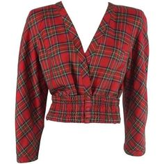 Preowned Valentino Red Plaid Lightweight Wool Crop Jacket And Matching... ($525) ❤ liked on Polyvore featuring outerwear, jackets, tops, red, valentino jacket, plaid wool jacket, vintage jackets, cropped jackets and lightweight jackets