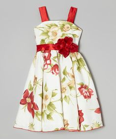 Look what I found on #zulily! Red & Green Floral Dress - Infant, Toddler & Girls by Kid Fashion #zulilyfinds