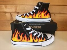 Flame High Top Converse - All About Painted Converse, Painted Sneakers, Painted Jeans, Painted Clothes, Custom Painted Shoes, Custom Shoes, Custom Clothes, Diy Clothes, Custom Vans