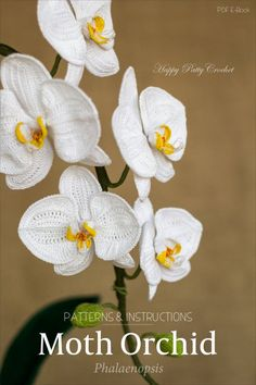 Inside youll find a crochet pattern for an elegant Moth Orchid Arrangement. Pattern include Crochet diagrams, instructions in American Standard Terms, and step-by-step photo guides that will show you how to crochet this luxurious Phalaenopsis (Moth) Orchid Arrangement. Crochet your