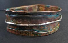 Bangle |  e5Jewelry Designs.  Patina'd copper and silver bangle