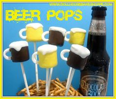 chocolate dipped marshmallow pops, beer shaped for a dads party