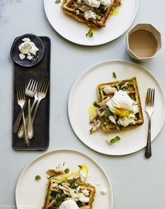Minty Zucchini Waffles with Poached Eggs, Smoked Trout and Ricotta Goat Cheese…