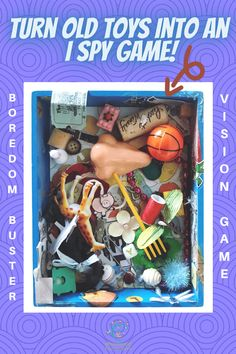 DIY Look and Find Box - Create an I Spy Game for the Kids #mosswoodconnections #visualprocessing #visionskills #DIYtoy #ISpyGame #recycledtreasure I Spy Games, Games To Play, Rainbow Games, Hidden Object Games, Things To Do At Home, Make A Game, Heart Crafts, Fun Activities For Kids, Old Toys