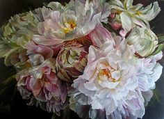 Beautifully detailed and lifelike painting of peonies by Marcella Kaspar.