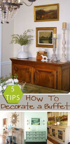 Remodelaholic How to Decorate a Buffet dining room buffet decor - Dining Room Decor Dining Room Buffet Table, Dining Room Sideboard, Farmhouse Buffet, Rustic Farmhouse Decor, Farmhouse Ideas, French Decor, French Country Decorating, Rustic French, Country French