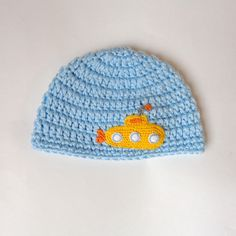 Yellow Submarine Baby Hat for Boy Sea Summer Beanie Newborn to Adult Photo Prop Baby Hat Halloween / Cosplay / Baby Shower Gift by KernelCrafts on Etsy