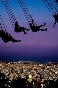 Swings at Tibidabo mountain - Barcelona, Spain.I've been to Spain and never saw this in Barcelona. Places Around The World, Oh The Places You'll Go, Places To Travel, Travel Destinations, Places To Visit, Around The Worlds, Vicky Christina Barcelona, Parcs, Future Travel
