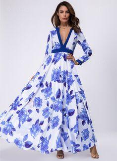 Dress - $59.99 - Floral V-Neckline Long Sleeve Maxi A-line Dress (1955140411)