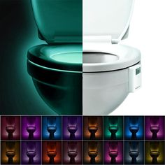 Toilet Bowl Night Light,Activated By Motion Sensor And Darkness,Battery(INCLUDED)  Operated LED Bathroom Light,Gift For Potty Training Kid Children Midnight  ...