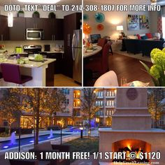 """Deal of the Day: ADDISON: 1 MONTH FREE on 12 month leases. Paying 75% of 1 months rent as commission. 1/1 starts at $1120 (776 sf). NOTES: Gaming Room. Zen Garden w/Water Feature. Large Dog Park. Shaved Berber Carpet. Laminate Wood Flooring. Outdoor Firepit for Social Gatherings. Whirlpool and 3 gas grills onsite. Text """"DEAL"""" to 214-308-1807 for more info.  Don't forget to put down """"Help Urself Leasing"""" when filling out ur lease application to get back 50% of the commission we earn from ur…"""