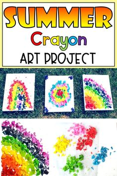 Crayons + Sunshine = Beautiful Art You don't need any special materials for these summer art projects for kids. On a hot day show children that even the sun can be used to create something amazing! #summerart #summerartprojectsforkids #crayonart #crayonmeltedart Summer Art Projects, Summer Crafts, Projects For Kids, Fun Crafts, Crafts For Kids, Outdoor Activities For Kids, Science For Kids, Art Activities, Summer Activities