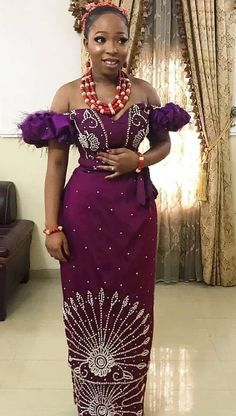 Image may contain: 2 people, people standing Nigerian Lace Styles Dress, Nigerian Wedding Dresses Traditional, African Lace Styles, Traditional Wedding Attire, Lace Dress Styles, African Wear Dresses, Latest African Fashion Dresses, Nigerian Fashion, Blouse Styles