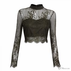 Ladies green high neck lace long sleeve crop top wholesale - clothing/tops/blouses  | Moguland.com - Wholesale Women's Clothing