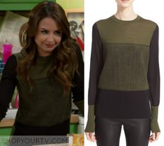 """Young & Hungry: Season 5 Episode 5 Sofia's Green Blocked Sweater 